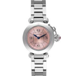 Cartier Pink Stainless Steel Miss Pasha W3140008 Women's Wristwatch 27 MM