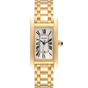 Cartier Silver 18K Yellow Gold Tank Americaine Automatic 1725 Women's Wristwatch 23 x 42 MM