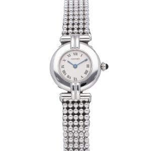 Cartier Silver 18K White Gold Colisee W15173M8 Women's Wristwatch 23 MM