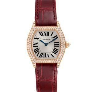 Cartier Silver Diamonds 18k Rose Gold Tortue 2645 Women's Wristwatch 34 x 28 MM
