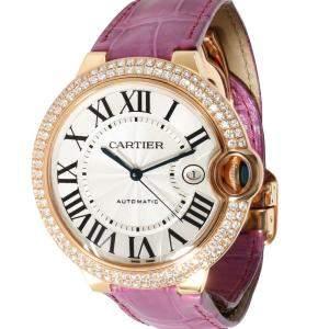 Cartier Silver Diamonds 18K Rose Gold Ballon Bleu WE900851 Women's Wristwatch 42 MM