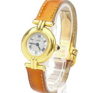Cartier Silver Gold Plated Must Colisee Quartz Women's Wristwatch 24 MM