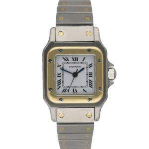 Cartier Silver 18K Yellow Gold And Stainless Steel Santos Galbee Women's Wristwatch 24 MM