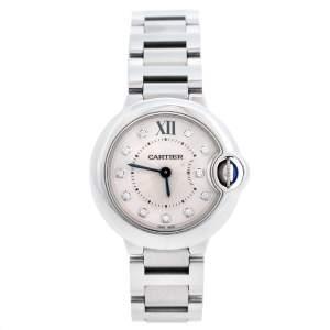 ساعة يد نسائية كارتييه بالون بلو 3009 ستانلس ستيل وألماس فضية 28 مم