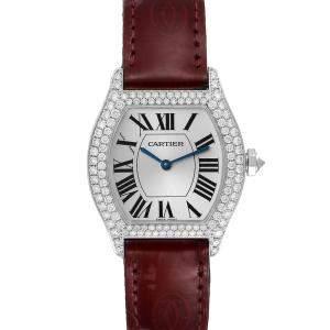 Cartier Silver Diamonds 18k White Gold Tortue 2644 Women's Wristwatch 34 x 28 MM
