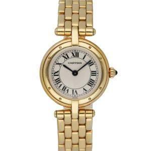 Cartier Silver 18K Yellow Gold Panthere Cougar Women's Wristwatch 24 MM