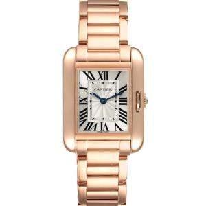 Cartier Silver 18K Rose Gold Tank Anglaise W5310013 Women's Wristwatch 30 x 22 MM