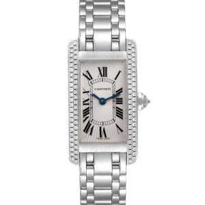 Cartier Silver Diamonds 18K White Gold Tank Americaine WB7018L1 Women's Wristwatch 19 x 35 MM