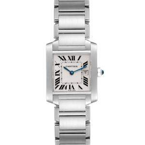 Cartier Silver Stainless Steel Tank Francaise W51011Q3 Women's Wristwatch 25 x 30 MM