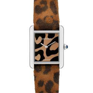 Cartier Brown Stainless Steel Tank Solo Panther W5200016 Women's Wristwatch 31 x 24 MM