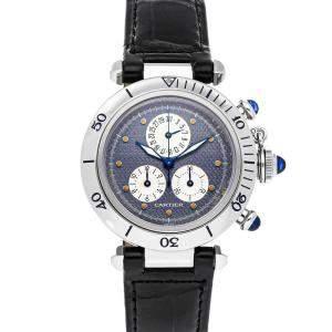 Cartier Blue Stainless Steel Pasha Chronoreflex W3101955 Women's Wristwatch 35 MM