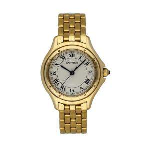 Cartier Silver 18k Yellow Gold Panthere Cougar 887906 Women's Wristwatch 24 MM