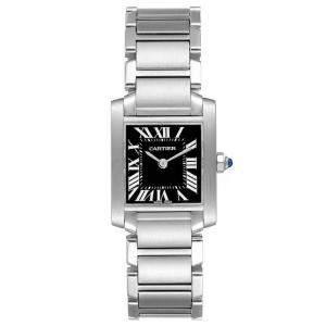 Cartier Black Stainless Steel Tank Francaise W51026Q3 Women's Wristwatch 20 x 25 MM