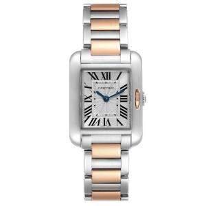 ساعة يد نسائية كارتييه تانك انغليز دبليو5310019 ستانلس ستيل وذهب وردي عيار 18 ألماس فضي 30 × 22 مم