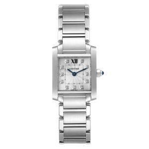 ساعة يد نسائية كارتييه تانك فرانشايز WE110006 ستانلس ستيل ألماس فضية 20 x 25 مم