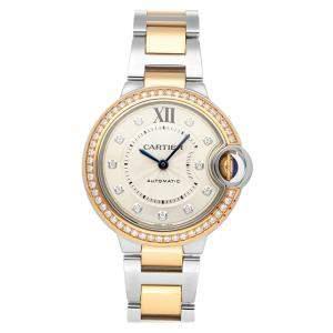 Cartier Silver Diamonds 18K Rose Gold And Stainless Steel Ballon Bleu WE902077 Women's Wristwatch 33 MM