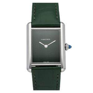 Cartier Green Stainless Steel Tank Must WSTA0056 Women's Wristwatch 34 MM