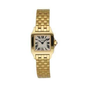 Cartier Silver 18k Yellow Gold Santos Demoiselle 2699 Women's Wristwatch 20 MM