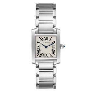 ساعة يد رجالية كارتييه تانك فرانشايز W51008Q3 ستانلس ستيل فضية 20 x 25 مم