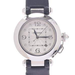 Cartier Silver Diamonds 18K White Gold Pasha Women's Wristwatch 32 MM