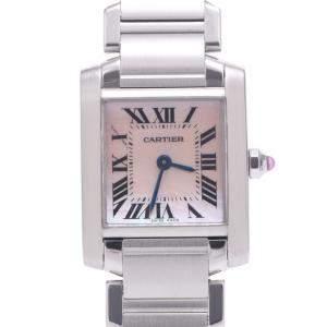 Cartier Pink MOP Stainless Steel Tank Francaise 2384 Quartz Women's Wristwatch 20 MM