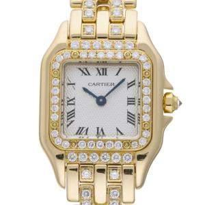 Cartier Silver Diamonds 18K Yellow Gold Panther De Cartier WF3205NA Women's Wristwatch 21.5 MM