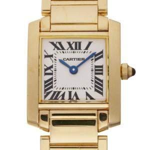 Cartier Silver 18k Yellow Gold Tank Francaise W50002N2 Quartz Women's Wristwatch 20 x 25 MM