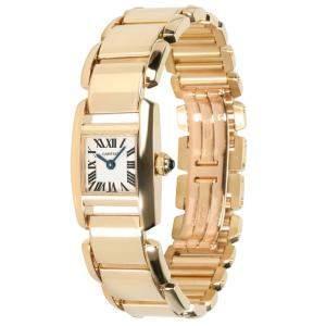 Cartier Silver 18K Yellow Gold Tankissime W650037H Women's Wristwatch 16.5 x 6 MM