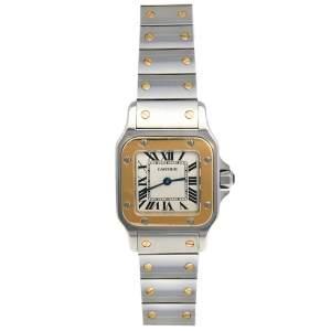 ساعة يد نسائية كارتييه سانتوس غالبي 1567 ستانلس ستيل وذهب أصفر عيار 18 كريمي 24 مم