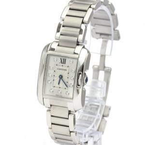 Cartier Silver Diamonds Stainless Steel Tank Anglaise W4TA0003 Quartz Women's Wristwatch 23 MM