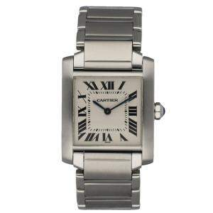 Cartier Silver Stainless Steel Tank Francaise 2301 Women's Wristwatch 24 MM