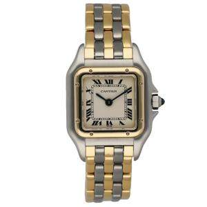 Cartier Silver 18K Yellow Gold And Stainless Steel Panthere 166921 Women's Wristwatch 22 MM