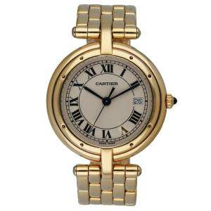 Cartier Silver 18K Yellow Gold Cougar Panthere Women's Wristwatch 30 MM