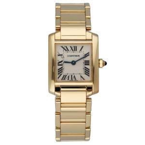 Cartier Silver 18K Yellow Gold Tank Francaise 2385 Women's Wristwatch 20 MM
