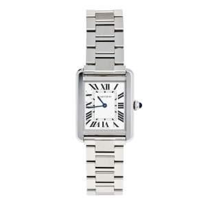 Cartier Silver Stainless Steel Tank Solo W5200013 Women's Wristwatch 24 mm