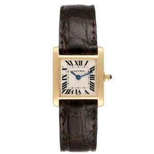 Cartier Silver 18K Yellow Gold Tank Francaise W5000256 Women's Wristwatch 20 x 25 MM