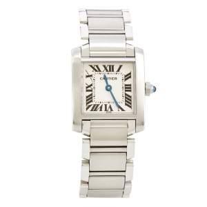Cartier Silver Stainless Steel Tank Francaise 2300 Women's Wristwatch 20 mm