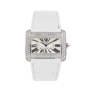 Cartier Silver Diamonds 18K White Gold Tank Divan WA301356 Women's Wristwatch 39 x 30 MM