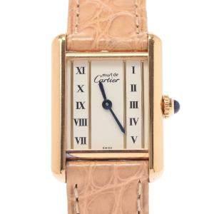 Cartier White Gold Tone Stainless Steel Must Tank Vermeil Quartz Women's Wristwatch 19 MM