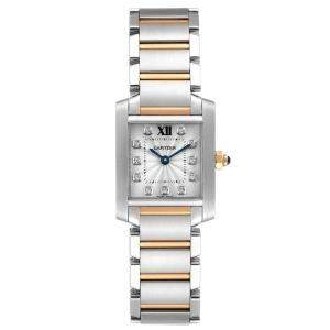 Cartier Silver Diamonds 18K Rose Gold And Stainless Steel Tank Francaise WE110004 Women's Wristwatch 20 x 25 MM