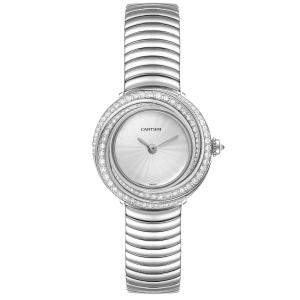 Cartier Silver Diamonds 18k White Gold Trinity 2444 Women's Wristwatch 27 MM
