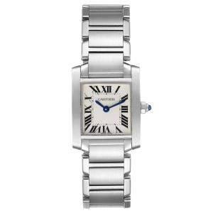 Cartier Silver Stainless Steel Tank Francaise W51008Q3 Quartz Women's Wristwatch 20 MM