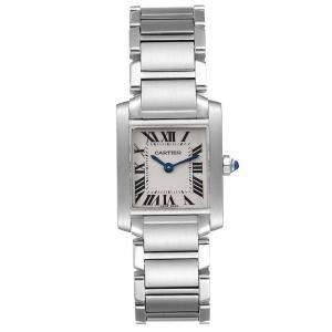 Cartier Silver Stainless Steel Tank Francaise W51008Q3 Women's Wristwatch 20 x 25 MM