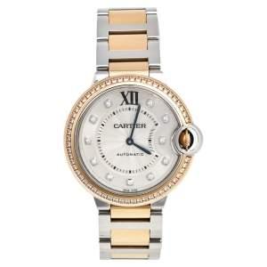 Cartier Silver 18k Rose Gold Stainless Steel Diamond Ballon Bleu WE902078 Women's Wristwatch 36 mm