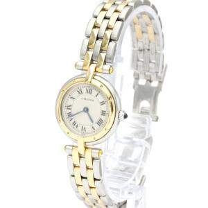 Cartier Silver 18K Yellow Gold And Stainless Steel Panthere Quartz Women's Wristwatch 22 MM