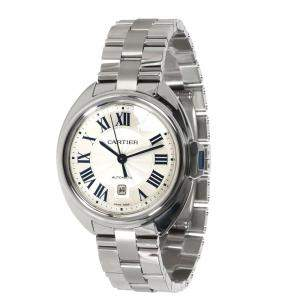 Cartier Silver Stainless Steel Cle de Cartier WSCL0005 Women's Wristwatch 31 MM
