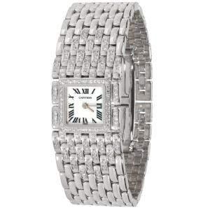 Cartier White Diamonds 18K White Gold Panthere Ruban 2450 Women's Wristwatch 21.5 MM