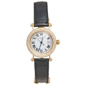 Cartier White 18k Yellow Gold Leather Diamond Diabolo 1430 Women's Wristwatch 33 mm
