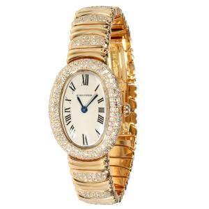 Cartier Silver Diamonds 18K Yellow Gold Baignoire 1186 Women's Wristwatch 22 MM