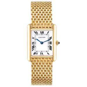 Cartier White 18K Yellow Gold Tank Classic Paris Women's Wristwatch 23 x 30 MM